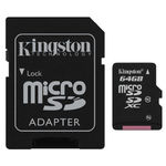 Card de memorie Kingston microSDXC 64GB, Class 10, UHS-I + Adaptor
