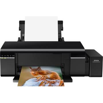 Imprimanta Epson L805 CISS, A4, Inkjet, Color, Wireless, Negru, C11CE86401