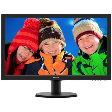 Monitor Philips 243V5LHSB/00, 23.6 inch, 5 ms, Full HD, Negru