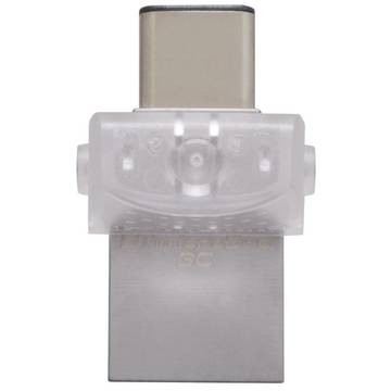 Memory stick Kingston DataTraveler microDuo 3C, 16 GB, USB 3.1, USB Tip C, Gri