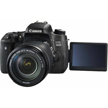 Camera foto Canon EOS 760D, 24.2 MP, Negru + Obiectiv EF-S 18-135mm IS STM