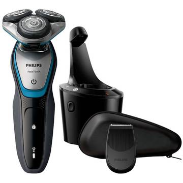 Aparat de ras Philips S5400/26, Lame Multiprecision, Docking de curatare, Rotire in 5 directii, Mod Turbo, Trimmer, Negru