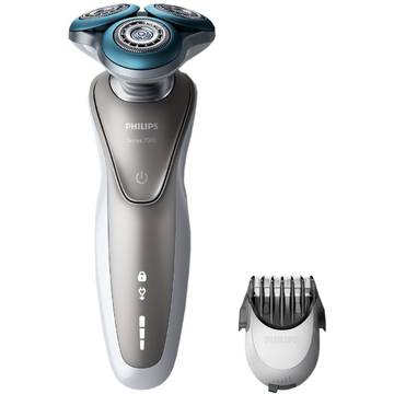 Aparat de ras Philips S7510/41, Lame duble Super Lift & Cut, Sistem Gentle Precisio, Rotire Dynamic Flex in 5 directii, Gri / Argintiu