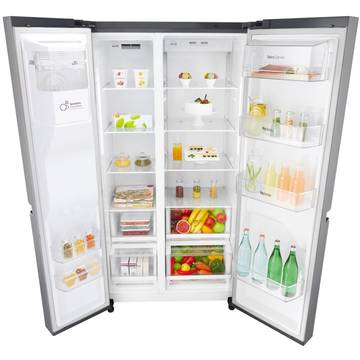 Side by side LG GSL760PZXV, 601 l, Full No Frost, Clasa A+, H 179 cm, Inox