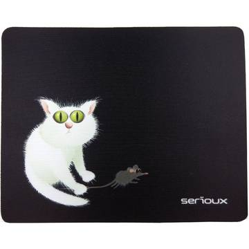 Mouse Pad Serioux MSP02, Cat and Mice, 250 x 200 x 3 mm, Negru