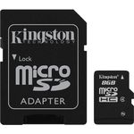 Card de memorie Kingston microSDHC 8GB, Class 4 + Adaptor