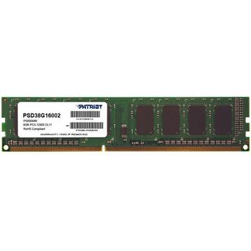Memorie Patriot PSD38G16002, 8GB DIMM, DDR3, 1600MHz, CL11, 1.5V