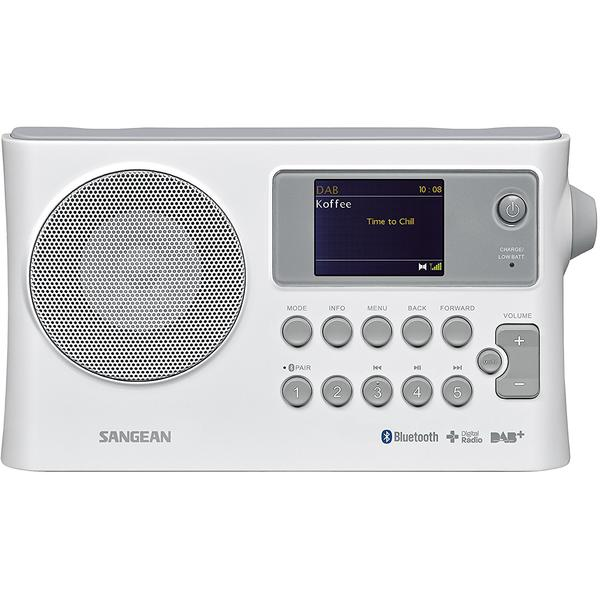 Radio Sangean BTR-160, Display LCD, Bluetooth, Alb