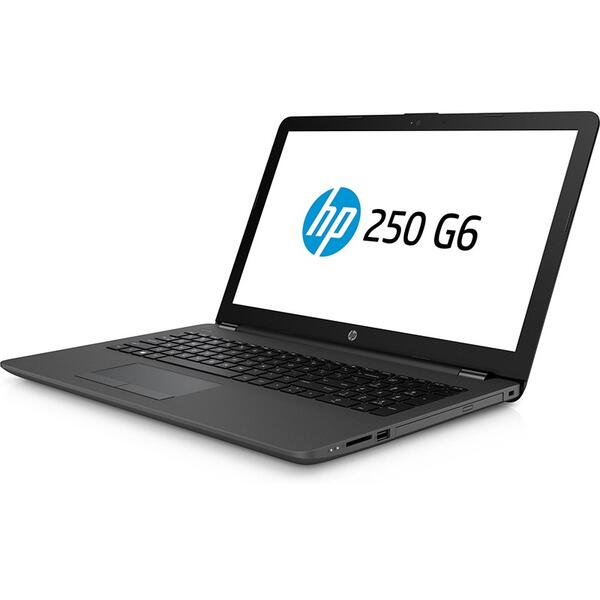 Laptop HP 250 G6, Intel Core i3-7020U, 4 GB, 500 GB, Microsoft Windows 10 Pro, Negru / Gri