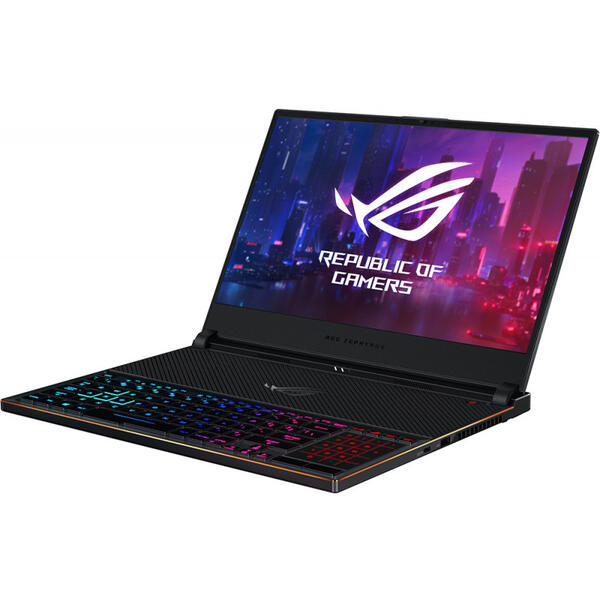 Laptop Asus ROG Zephyrus S GX531GX, FHD 144Hz, Intel Core i7-8750H, 16 GB, 512 GB SSD, Microsoft Windows 10 Pro, Negru