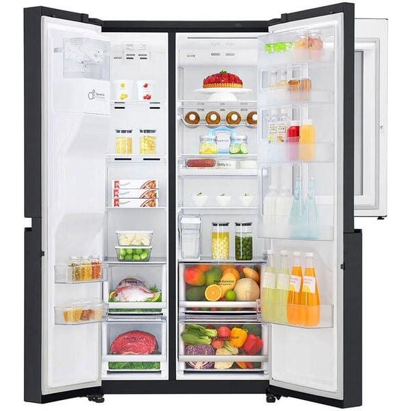 Side by side LG GSX961MCVZ InstaView Door in Door , 601 l, Clasa A++, No Frost, Compresor Inverter Linear, Door Cooling, Negru