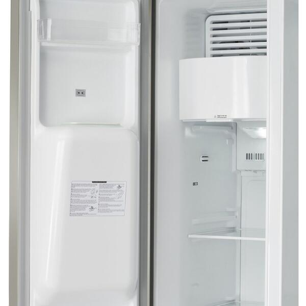 Side by side Heinner HSBS-M490ICEX++, 490 l, Clasa A++, No Frost, Dispenser apa si gheata, Display, Iluminare LED, Compresor Inverter, H 178.8 cm, Argintiu