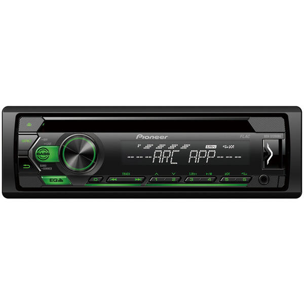 Player auto Pioneer DEH-S120UBG, 4 x 50 W, CD, FM, USB, Aux, Android, Negru/Verde