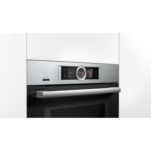 Cuptor incorporabil Bosch HNG6764S6, Electric, Multifunctional, 67 l, Autocuratare pirolitica, Functie Microunde, Functie Abur, Home Connect, Convectie 4D, Touch control, Display TFT, Inox