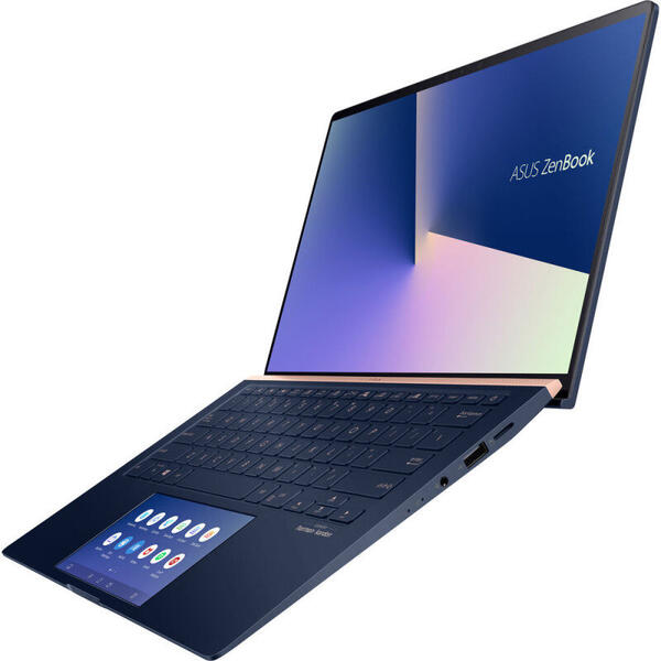Laptop Asus ZenBook 14 UX434FLC, Full HD, 14 inch, Intel Core i7-10510U (8M Cache, up to 4.80 GHz), 16GB, 1TB SSD, GeForce MX250 2GB, Win 10 Pro, Royal Blue