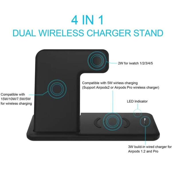 Incarcator Wireless 4 in 1 Halber, Negru