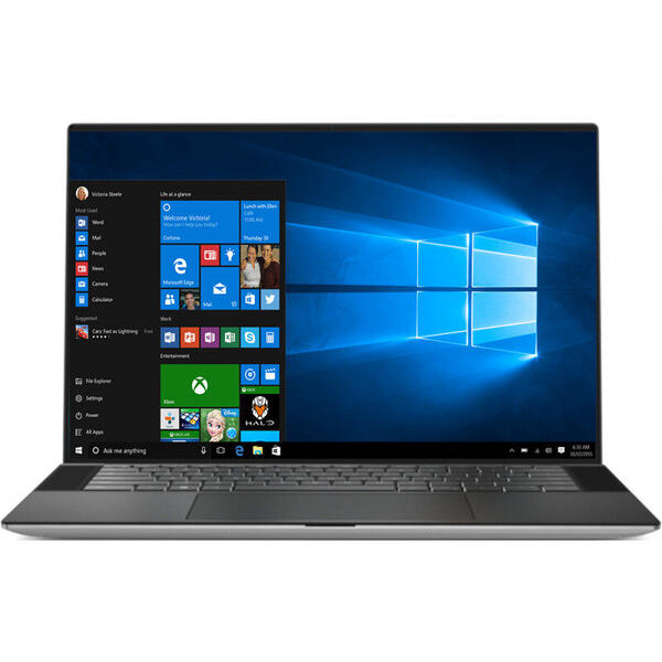 Laptop Dell XPS 15 9500, UHD+ InfinityEdge Touch, 15.6 inch, Procesor Intel Core i7-10750H (12M Cache, up to 5.00 GHz), 16GB DDR4, 1TB SSD, GeForce GTX 1650 Ti 4GB, Win 10 Pro, Platinum Silver