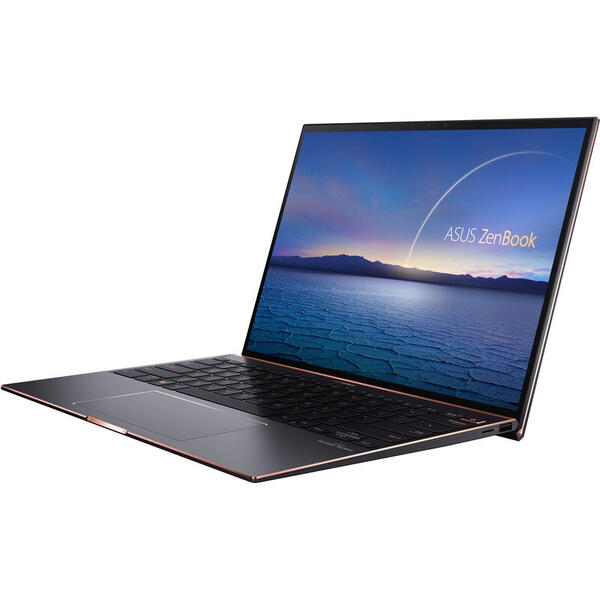 Laptop Asus ZenBook S UX393EA, 13.9 inch, 3.3K Touch, Intel Core i5-1135G7 (8M Cache, up to 4.20 GHz), 16GB DDR4X, 1TB SSD, Intel Iris Xe, Win 10 Pro, Jade Black